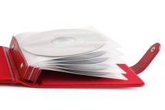 Portable red CD/DVD case Royalty Free Stock Images