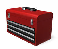 Portable Red Toolbox. A Portable red toolbox isolated on a white background Royalty Free Stock Photos