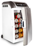 The portable road refrigerator with cans inside.Close up on a white background Royalty Free Stock Photos