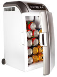 The portable road refrigerator with cans inside on a white background Stock Photos