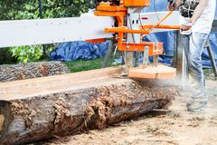 Portable Sawmill Sawing a Log Stock Photography