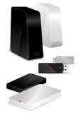Portable-/Schreibtisch-Festplatten und USB-Laufwerk Stockfotos