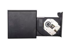 Portable slim external CD DVD burner writer isolated on white Stock Photo