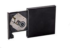 Portable slim external CD DVD burner writer isolated on white Royalty Free Stock Photo