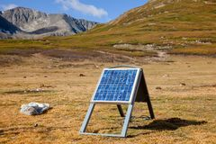 Portable solar module generating electricity for a ger in Altai Royalty Free Stock Images