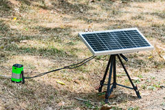 Portable solar panel. A set of portable solar panels used for camping Stock Photo