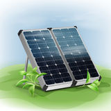 Portable solar panels. Vector portable  solar panels close up with green leafs on background Royalty Free Stock Image