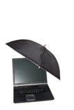 Portable sous le parapluie Image stock