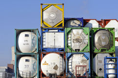 Portable storage tanks. For chemical transport Royalty Free Stock Photo