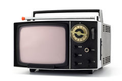 Portable television. Vintage portable television isolated on white Royalty Free Stock Images