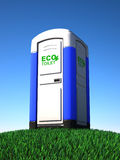 Portable toilet on grass. 3d illustration Stock Images