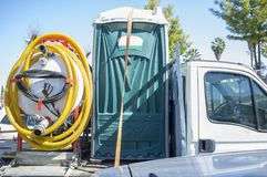 Free Portable Toilet With Pump Loaded Over Small Truck Stock Image - 159511781