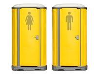 Portable toilets. Two yellow portable toilet units Stock Images