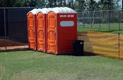 Portable Toilets. Photographed portable toilets at a local major league baseball spring training camp in Florida Royalty Free Stock Photos