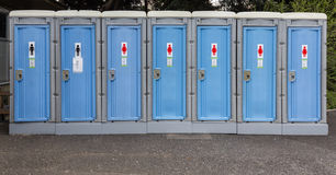 Portable toilets or mobile toilet cabins. Public Toilets. Royalty Free Stock Photos