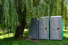 Portable toilets - outdoor portapotty Royalty Free Stock Images