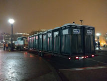 Portable Toilets, Porta-Potties on a Flatbed Truck for the Women`s March, Union Station, Washington, DC, USA Royalty Free Stock Images
