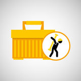Portable tool box silhouette man Royalty Free Stock Image