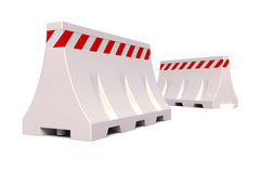 Portable traffic barriers. 3d render of Portable traffic barriers on white background Royalty Free Stock Photos