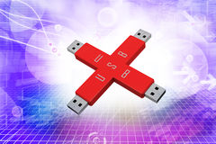 Portable usb drive memory connected Royalty Free Stock Images