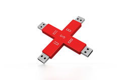 Portable usb drive memory connected Stock Images