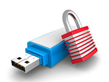 Portable USB Flash Drive With Security Padlock Stock Illustration