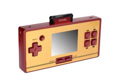 Portable video game console. Hoto of a retro, portable video game console.Gameplay on a white background royalty free stock photography