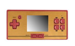 Portable video game console. Hoto of a retro, portable video game console.Gameplay on a white background Stock Photo