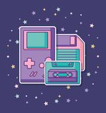 Portable videogame design. Portable videogame with cassette and diskette over purple background, colorful design. vector illustration Stock Photos
