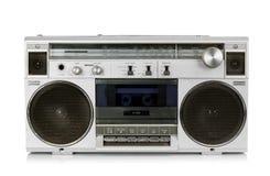 Portable vintage radio cassette recorder. Isolated on white Stock Photo
