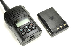 Portable walkie-talkie with back-up battery isolated on a white background stock photography