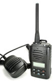 Portable walkie-talkie with handheld microphone isolated on a white background royalty free stock image