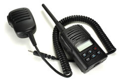 Portable walkie-talkie with handheld microphone isolated on a white background royalty free stock photography