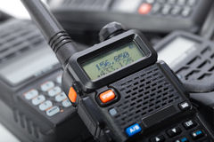 Portable walkie-talkie isolated. Black portable walkie-talkie set Royalty Free Stock Images