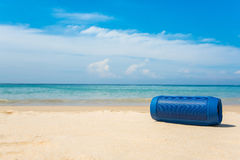 Portable wireless speakers on the beach and blue sky. Portable wireless speakers on the beach Stock Images
