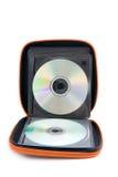 Portable yellow CD/DVD case Royalty Free Stock Photos