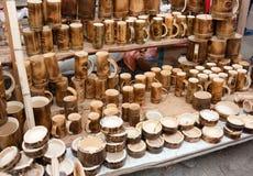 Portaceneri e tazze fatti da bambù Fotografia Stock Libera da Diritti