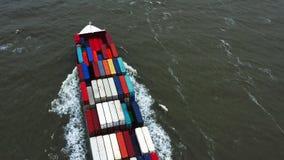 Portacontenedores en la exportaci?n y la importaci?n Buque mercante internacional almacen de video