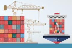 Portacontenedores, grúa a gran altitud con un envase, puerto marítimo stock de ilustración