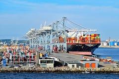 Portacontenedores MSC INGY ha atracado en el puerto de Aarhus en Dinamarca Fotografía de archivo