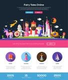 Portada del sitio web de los cuentos de hadas con los elementos del webdesign ilustración del vector