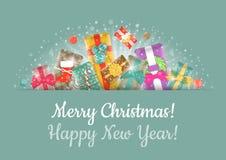 Portada horizontal del fondo de los regalos de la Navidad Imagen de archivo libre de regalías