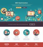 Portada plana del sitio web de la optimización del diseño SEO con los elementos del webdesign stock de ilustración