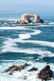 Portada Rock Formation, Antofagasta, Chile. Arch Rock Formation in La Portada National Reserve - rock-emblem coast of Chile Stock Images