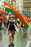 Portador de bandeira boliviano no Carnaval del Pueb imagens de stock royalty free