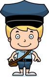 Portador de correio de sorriso Boy dos desenhos animados ilustração do vetor