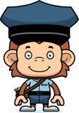 Portador de correio de sorriso Monkey dos desenhos animados ilustração stock