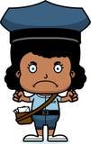 Portador de correio irritado Girl dos desenhos animados ilustração do vetor