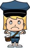Portador de correio irritado Girl dos desenhos animados ilustração stock