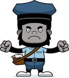 Portador de correio irritado Gorilla dos desenhos animados ilustração stock
